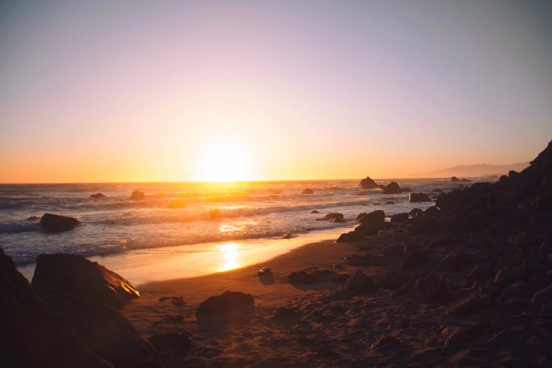 海边落日 高清自然风景背景摄影图 壁纸