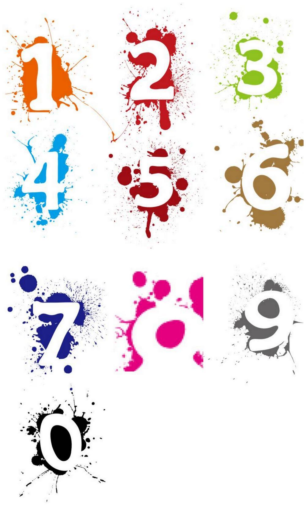 彩色水墨数字图标按钮ppt素材png格式