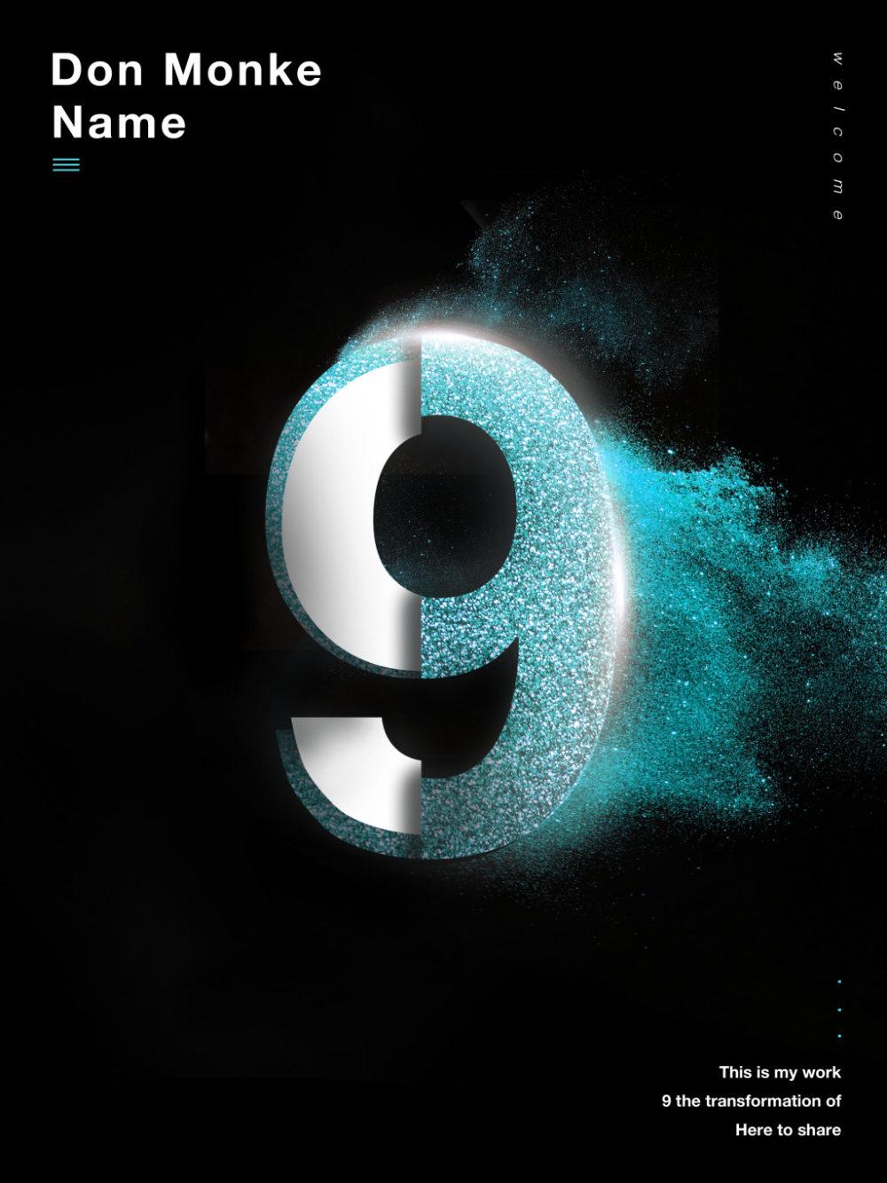 创意数字9海报设计psd模板