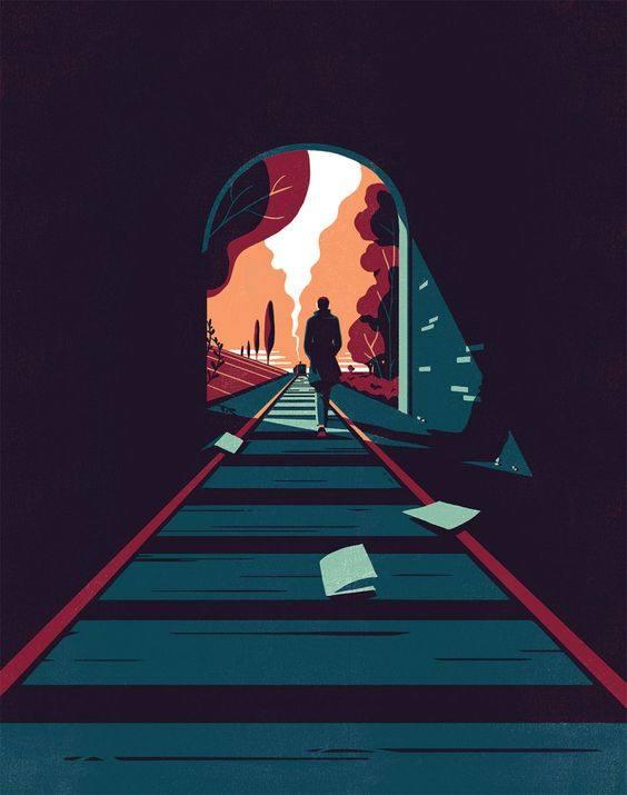 平面/广告 图形图案纹样 插画素材 隧道中行走的人  搜索