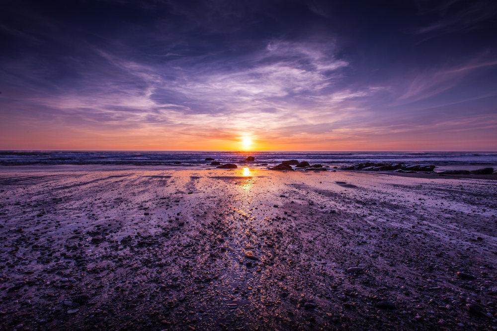 紫色的海岸与天空 高清自然风景背景摄影图 壁纸