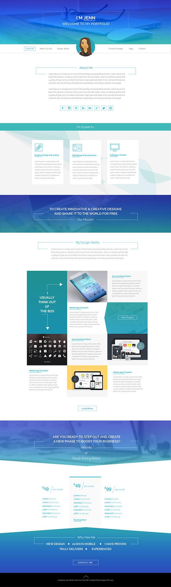 蓝色简洁网页模板素材