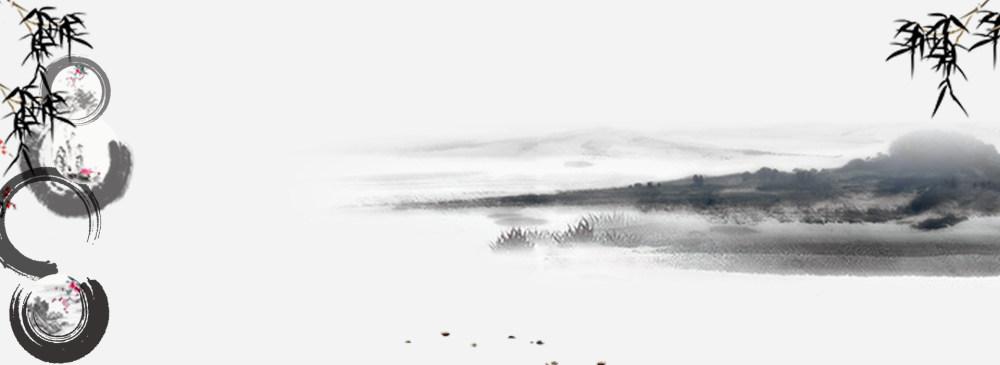中国风水墨背景banner设计psd素材