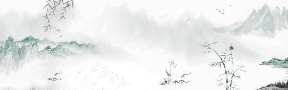 水墨中国风背景banner设计psd素材
