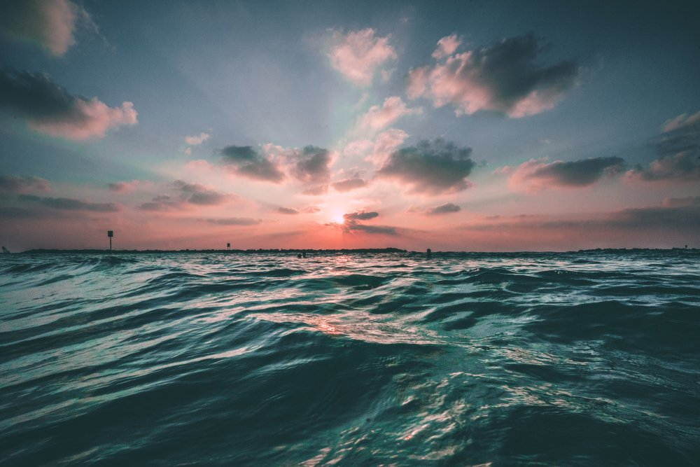 落日下的大海 高清自然风景背景摄影图 壁纸