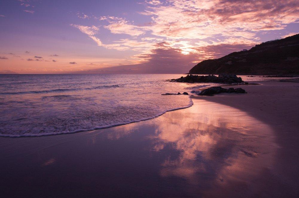 傍晚的海岸沙滩 高清自然风景背景摄影图 壁纸