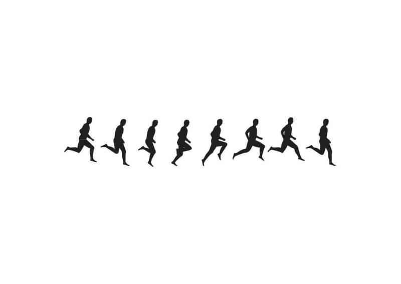 有趣的人物运动连续动作剪影矢量eps素材-跑步的人eps-(图片编号:1000