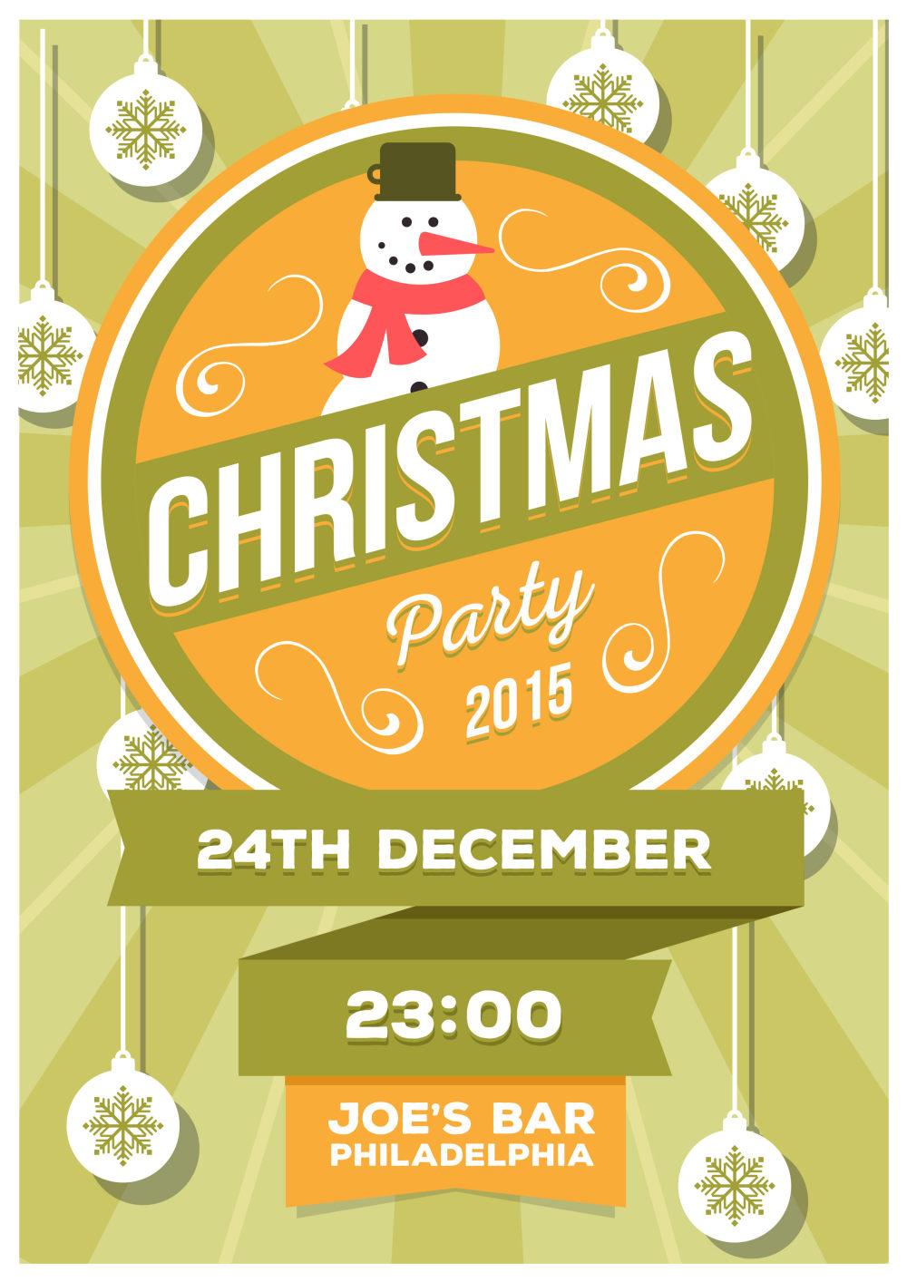 圣诞节清新雪人节日海报设计ai矢量素材
