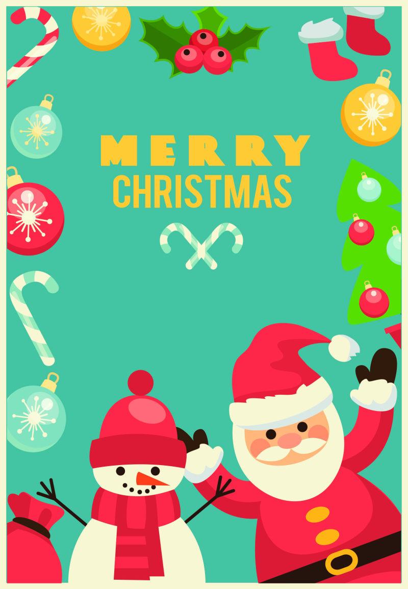 圣诞节老人与雪人节日海报ai矢量素材