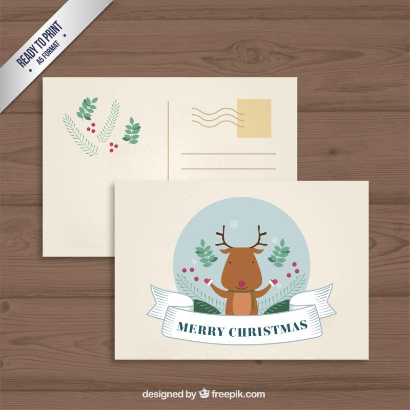可爱圣诞鹿明信片设计eps矢量素材