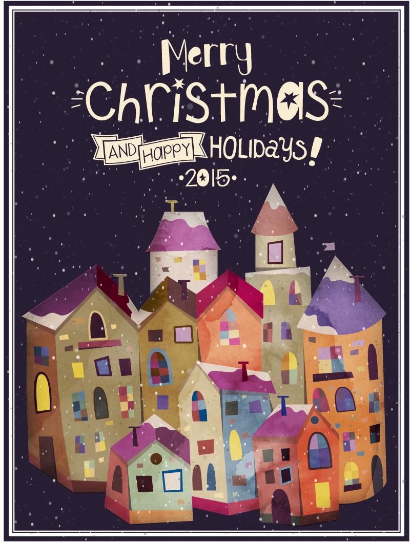 卡通房屋圣诞海报eps矢量素材