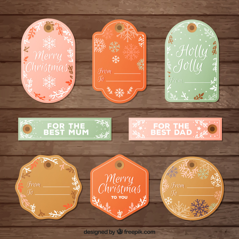 圣诞节精美标签吊牌设计eps矢量素材