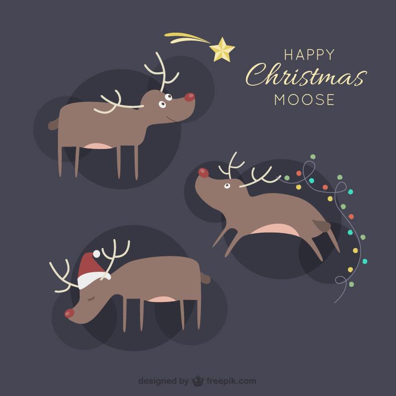 圣诞麋鹿卡通节日素材eps